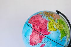 Africa, Middle East and India map on a globe witha white background. Royalty Free Stock Photography