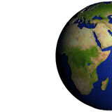 Africa on model of Earth with embossed land Royalty Free Stock Photo