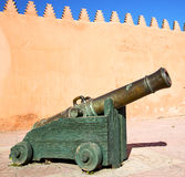 In africa morocco     green bronze cannon and the blue sky Stock Images