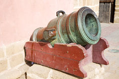 In africa morocco    green bronze cannon and the Royalty Free Stock Photography