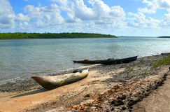 Africa, Mozambique. Boat on the shore. Royalty Free Stock Images