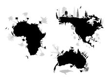 Africa, north america, australia vector illustration