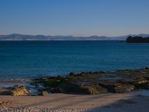 View of Africa from Spain. In front of Tarifa we see Maroc. Strait of Gibraltar royalty free stock photos