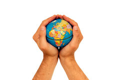 Africa is in our hands. Looking after Africa - it is in our hands. Earth held in a pair of hands over a white background Stock Images