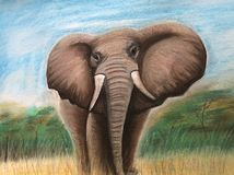 Africa. Paint draw Pastell elephant stock photography