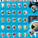 Africa Pointer Flag Icons with african Map set1. Vector illustration in .CS and .EPS10. Contain transparency Stock Photography