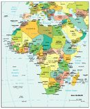 Africa political divisions map. Area geographical location map on the globe Royalty Free Stock Image