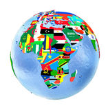 Africa on political globe with flags isolated on white. Africa on political globe with national flags embedded in map. 3D illustration isolated on white Stock Photo