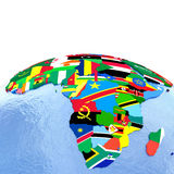 Africa on political globe with flags. Africa on political globe with national flags embedded in map. 3D illustration Royalty Free Stock Photography