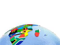 Africa on political globe with flags. Africa on political globe with national flags embedded in map. 3D illustration. Lot of space left blank for your copy Royalty Free Stock Image