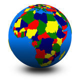 Africa on political globe illustration Royalty Free Stock Images