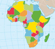 Africa political map. Political map of Africa in vector vector illustration