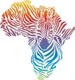 Africa in rainbow zebra camouflage Royalty Free Stock Image