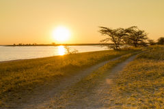 Africa Road Sunset Stock Photography