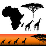 Africa and Safari elements. Map of Africa. Africa and Safari elements. African animals, giraffe, vector silhouettes. Panels of african silhouettes with african Stock Image