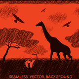 Africa safari giraffe. Seamless texture African animals in doodle style. Vector Stock Images