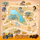 Africa Safari Map Wildlife. Collection Sets Of African Safari Map. Contains Lion, Leopard, Cheetah, Zebra, Wildebeest, Rhino, Hyena And Many More Stock Photo