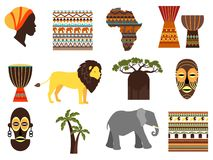 Africa safari vector emblems and flat icons Royalty Free Stock Photos