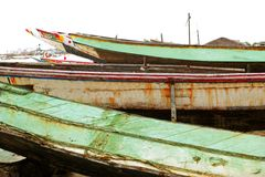 Africa Senegal Atlantic coast fishermen boats Royalty Free Stock Photography