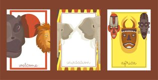 Africa set of cards, banners, posters vector illustration. Wild animals such as rhino, lion, elephant. Ethnical colorful. Shamanic masks. Welcome invitation vector illustration