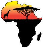 Africa silhouette. Silhouette of a giraffe and a tree inside the outline of Africa Stock Photos