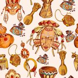 Africa sketch colored seamless pattern Royalty Free Stock Photo