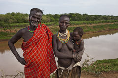 Africa, south Ethiopia, Omo Valley 24.12.2009. Unidentified family from karo tribe Royalty Free Stock Photo