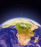 Africa from space. Satellite view of Africa on planet Earth. 3D illustration with detailed planet surface. Elements of this image furnished by NASA Stock Images