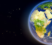 Africa from space. Satellite view of Africa on planet Earth. 3D illustration with detailed planet surface. Elements of this image furnished by NASA Royalty Free Stock Photography