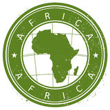Africa stamp. Abstract grunge stamp with the Africa map inside Stock Images