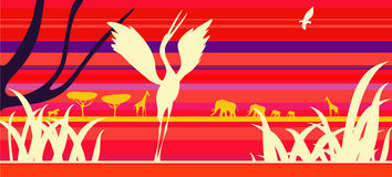 Africa sunset with animals. Africa abstract sunset with different animals stock illustration