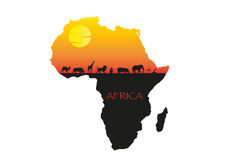 Africa sunset minimal  illustration Royalty Free Stock Photo