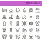 Africa Symbols. Thin Line and Pixel Perfect Icons Royalty Free Stock Images