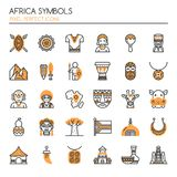 Africa Symbols. Thin Line and Pixel Perfect Icons Royalty Free Stock Image