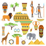 Africa symbols and travel set. stock illustration