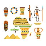 Africa symbols and travel vector set. vector illustration