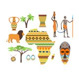Africa symbols and travel vector set. royalty free illustration