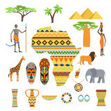 Africa symbols and travel vector set. Stock Photo