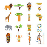 Africa symbols and travel vector set. stock illustration