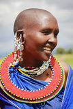 Africa, Tanzania - February 2016: Masai woman of the tribe in a village in traditional dress. Stock Photo