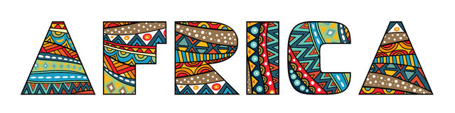 Africa Title. Africa word title with abstract ethnic African patterns. Fancy multicolored capital letters, schematic shapes. Isolated on white Stock Photography