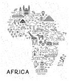 Africa Travel Line Icons Map. Travel Poster with animals and sightseeing attractions. Inspirational Vector Illustration royalty free illustration