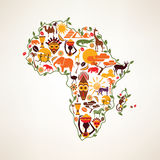 Africa travel map, decrative symbol of Africa continent with eth. Nic vector icons stock illustration