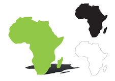 Africa - vector. Africa map outline and silhouette shadowed green vector map