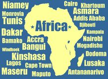 Africa vector map yellow on white background. High detailed illustration. Royalty Free Stock Photos