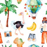 Safari collection with cute ostrich, air balloon, young travelling girl. Africa watercolor seamless pattern. Safari collection with cute ostrich, banana,air Stock Images