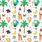 Safari collection with cute ostrich, air balloon, photo camera, young travelling girl. Africa watercolor seamless pattern. Safari collection with cute ostrich Stock Photo