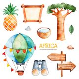 Safari collection with pineapple, binocular, air balloon. Africa watercolor set. Safari collection with pineapple, coconut, baobab, binocular, wooden sign,stones royalty free illustration