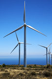 Africa wind turbines and the sky lanzarote spain Stock Images