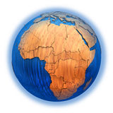 Africa on wooden Earth Stock Images